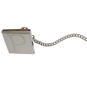Letter P Etched Monogram Pendant Tie Tack